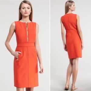 Tory Burch Mariel sheath dress orange 10 zipper